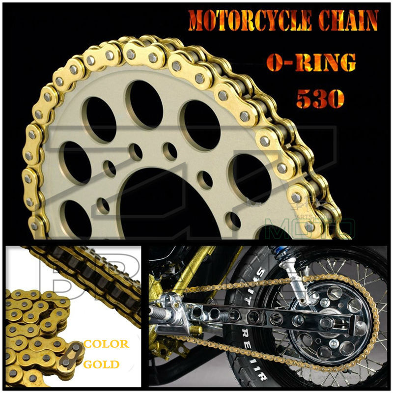 Motorcycle Drive Chain Gold O Ring 530 Length 120-in Chain ...