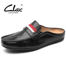 CLAX Men's Leather Slipper 2018 Spring Summer Fashion Pria Sepatu Kulit Slip pada Designer Flat Loafers Casual Leather Sandals