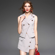 Top Grade New Fashion Women's Set Autumn 2016 Women Notched Collar Golden Button Vest Coat+Slim Fit Sexy Shorts Pant(1Set)2pcs