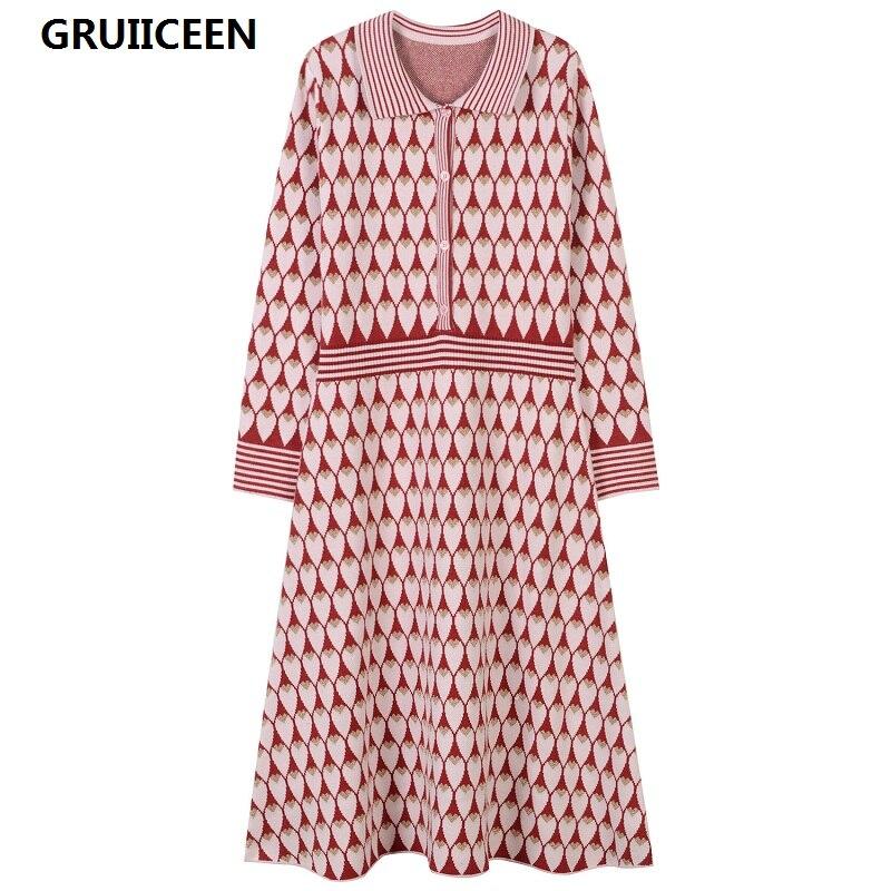 GRUIICEEN nouveau 2017 marque design rétro robe en tricot hiver femmes mode slim à manches longues col rabattu robe de soirée longue robe