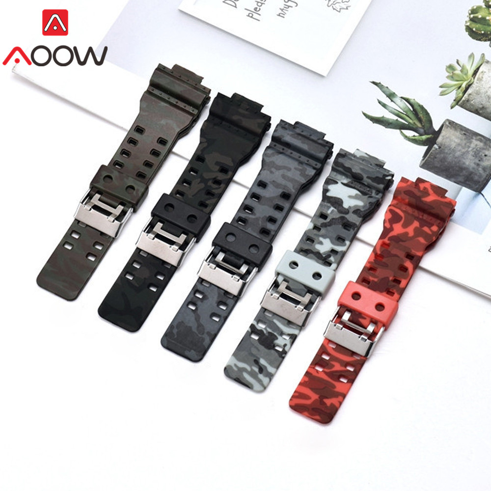 16mm Silicone Watchband For Casio G-Shock GA-110 GA-100 GA-120 Camouflage Rubber Waterproof Men Watch Band Strap For G Shock