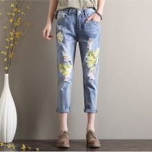Summer Style Women Denim Jeans Flower Print Painted Nine Pants Skinny Jeans Casual Loose Harem Pants Large Size L680