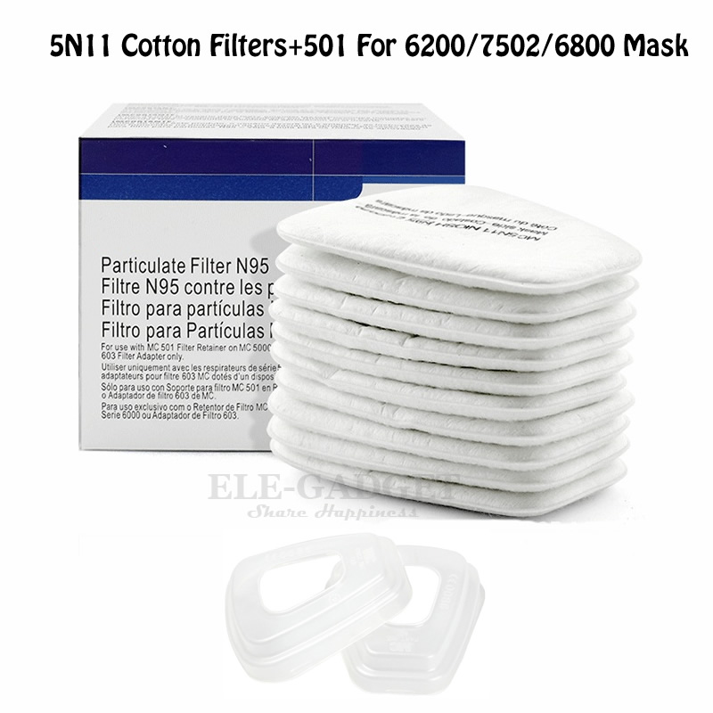 10pcs 5N11 Cotton Filters + 2pcs 501 Filters Cover Case N95 Replaceable Filters For 6200/7502/6800 Gas Dust Mask Accessories
