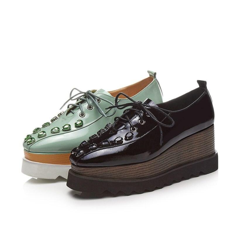 Pompes Chaussures Étanche Wedge Dentelle Pot Green Noir Cristal Cuir Vache Krazing L01 Carré Femmes Augmenté En mint Bout Superstar 2018 Up SvwAXnfg