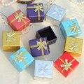 4X4X3cm Jewelry Display Box Black Sponge Earrings Ring Box 48pcs/lot Square Cardboard Gift Box Packaging Jewelry Organizer