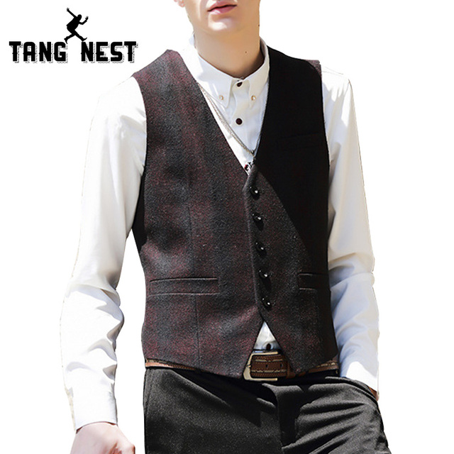 TANGNEST 2017 Stylish Blazer Men Plaid Vest Fashion Casual Male Asian Size M-XXL Suit Vest Good Quality Men Vest MWB267
