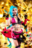 Jinx Loose Cannon LOL Uniform Clothing Cosplay Costume Hallowmas Party Dress+gloves+sock+accessories