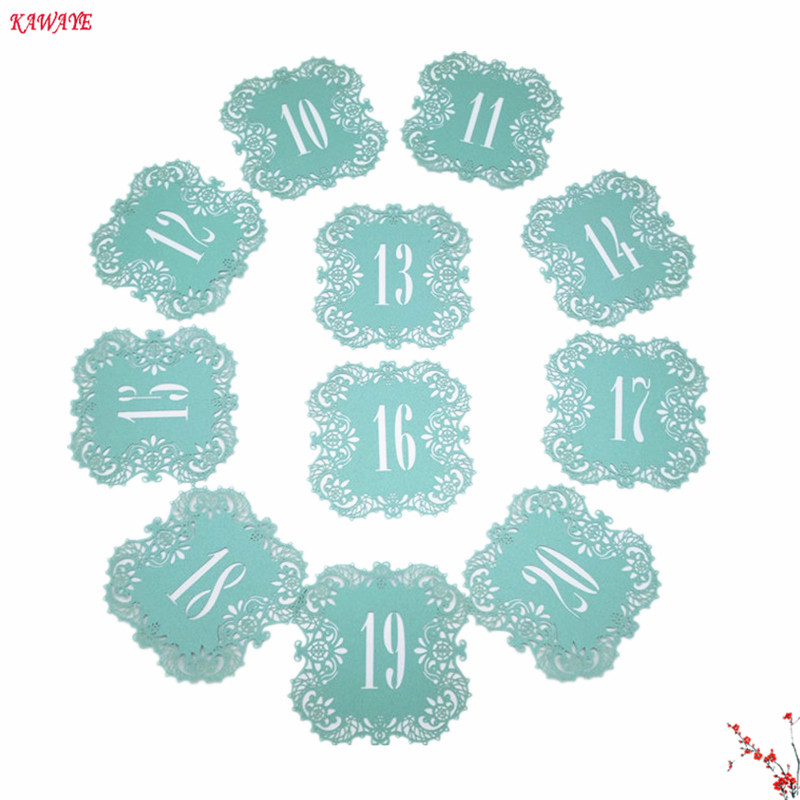 10pcs Wedding Table Number Cards Hollow Laser Cut Card Numbers romantic Wedding Decoration Place Cards Party Supplies 5ZZ19