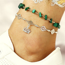 цена на 2019 Crown Elephant Pendant Vintage Anklet Multilayer Green Stone Anklet For Women Girl Charm Chain Foot Jewelry Wholesale