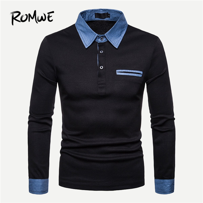 ROMWE Men Black Trim   Polo   Shirt Clothes 2019 Autumn Casual Mens   Polo   Shirts Brands Fashion Tops Half Placket Long Sleeve Tee
