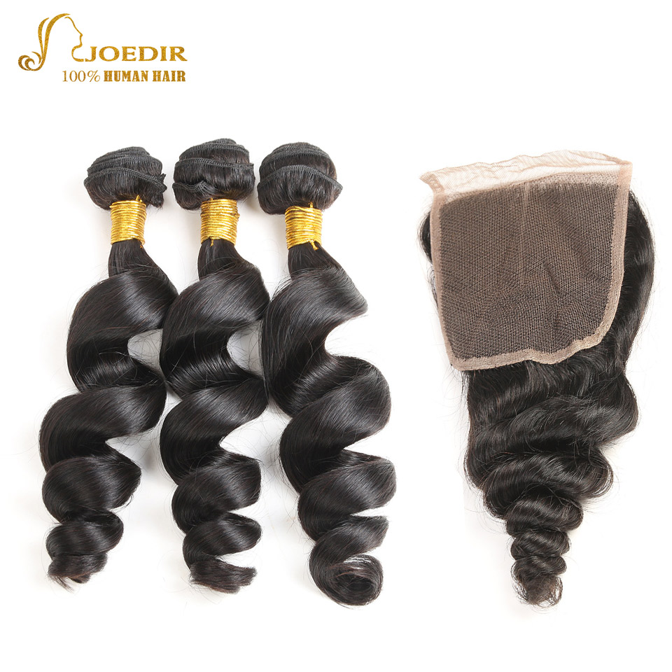 JOEDIR Hair Pre-colored Indian Loose wave Hair Bundles With Closure 4*4 Swiss Lace Closure 100% Non Remy Human Hair Extensions
