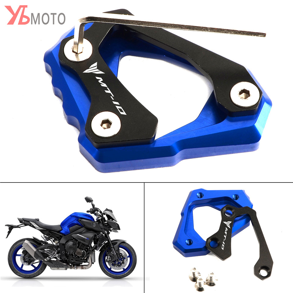 Motorcycles Accessories Kickstand Foot Side Stand Extension Pad Support Plate For Yamaha MT-10 MT 10 MT10 2016-2017