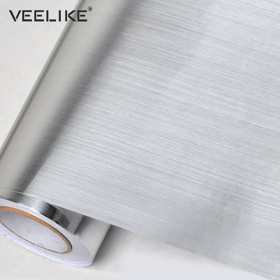 Brushed Silver Decorative Film PVC Vinyl Self adhesive Wallpaper Stainless Steel Contact Paper Kitchen Home Decor Wall Stickers steel casing pipe