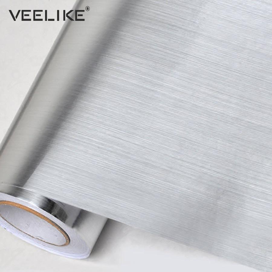 Brossé Métallique Argent Or Décoratif Film Auto-adhésif Papier Peint Papier de Contact En Acier Inoxydable BRICOLAGE Home Decor Wall Sticker