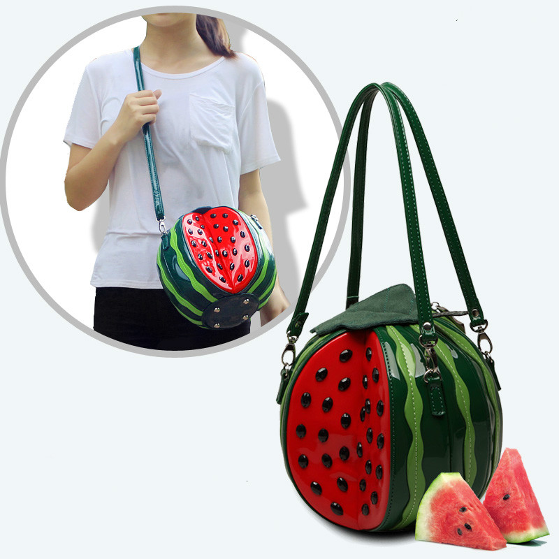 Women Creative Watermelon Shape Bags Shoulder Bags Tote Handbag Purse New Fashion Cute Kawaii Beach Summer