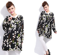 Más el tamaño de gasa de las mujeres vestidos vestidos 2016 de gran tamaño grande de la señora floral dress figura completa otoño ropa pullover casual tops