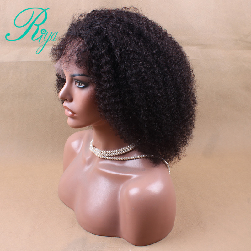 Short Kinky Curly Wig Remy Brazilian Lace Front Human Hair Wigs For Women Natural Black Pre