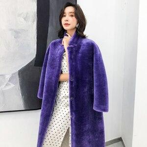 Image 5 - Kış bayan 100% gerçek Merinos Koyun Kürk ceket uzun stil çift yüzlü hakiki kuzu kürk giyim zarif kadınlar kış sıcak tutan kaban
