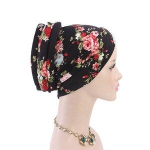 Image 4 - Müslüman kadınlar baskı pamuk sünger çapraz türban şapka kanser kemoterapi kemo kasketleri Caps Headwrap saç dökülmesi kapak aksesuarları