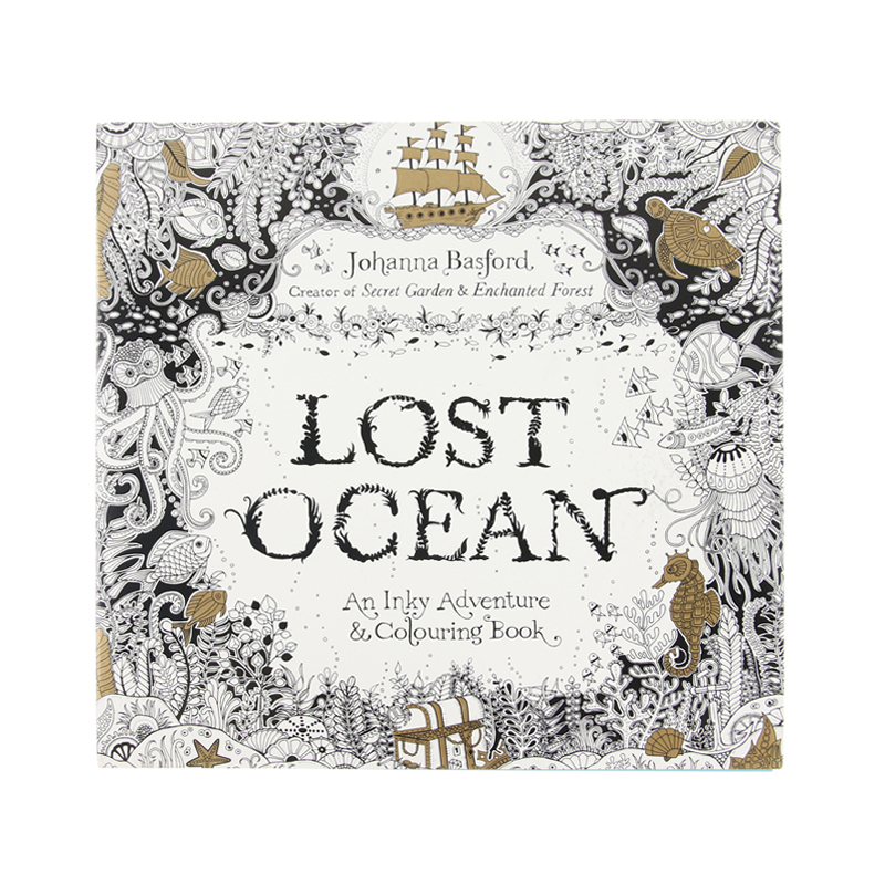 Secret Garden serie LOST OCEAN adult coloring colouring books For Relieve Stress Kill Time Painting Drawing Book 12 color pencils the colorful secret garden style coloring book for children adult relieve stress graffiti painting drawing book