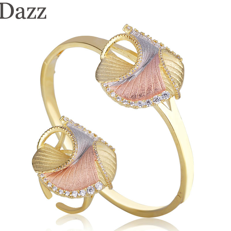 Dazz Latest Three Tone Colors Irregularity Shape Bangle Ring Copper Zircon Jewelry Set For Women Girls Party Delicate Ornaments