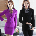 Autumn and winter new business wear female suit long - sleeved  suit suit skirt bank hotel white - collar work clothes do143