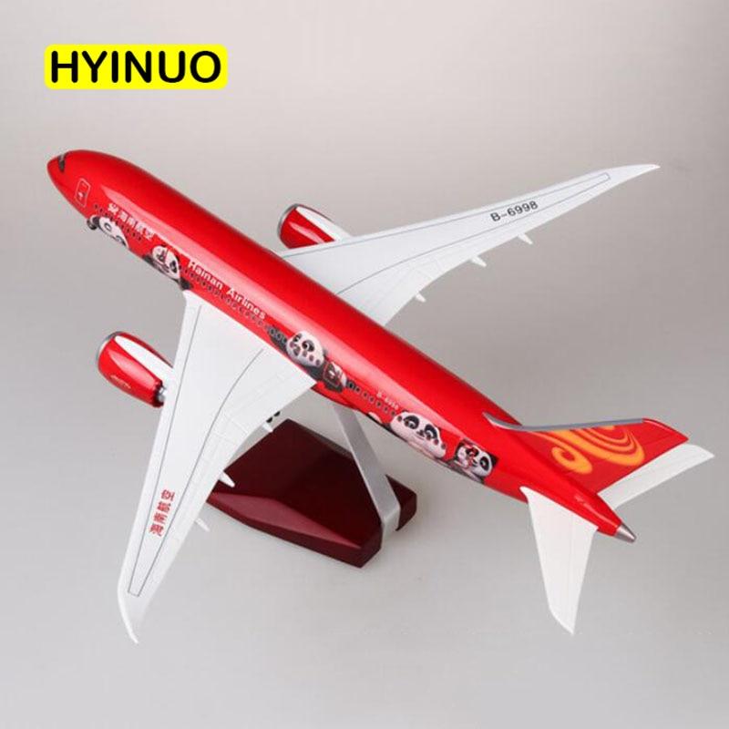 43 CM 1/130 skala samolot Boeing B787 chinach Hainan linii lotniczych Model W światło i felgi Diecast żywicy z tworzywa sztucznego samolot do kolekcja w Odlewane i zabawkowe pojazdy od Zabawki i hobby na  Grupa 3