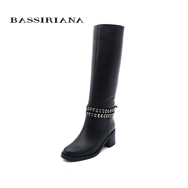 BASSIRIANA new 2017 nature wool genuine leather shoes woman high boots winter high heels chain round toe black size 35-40 bassiriana new 2017 winter high boots shoes woman high heels round toe zipper genuine leather and suede black 35 40 size