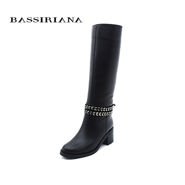 BASSIRIANA nuovo 2017 natura di lana genuino scarpe di cuoio della donna alti stivali invernali catena tacchi alti punta rotonda nero taglia 35 -40