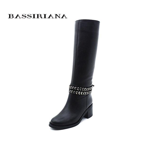 Bassiriana/Новинка 2017 г. природа шерсть обувь из натуральной кожи женские высокие сапоги зимние Обувь на высоком каблуке цепи с круглым носком черного цвета, размер 35-40