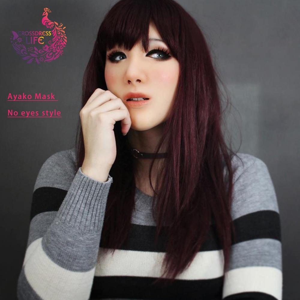 Croddsress vie silicone femme Masque déesse Ayako pour cosplay mascarade balle crossdresser glisser reine Masque poupée shemale