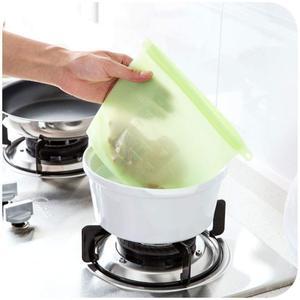 Image 5 - 4 יחידות\סט אבק לשימוש חוזר סיליקון מזון שקית ואקום אוטם מטבח פירות בשר טרי אחסון תיק כורכת מקרר מזון אחסון מיכל