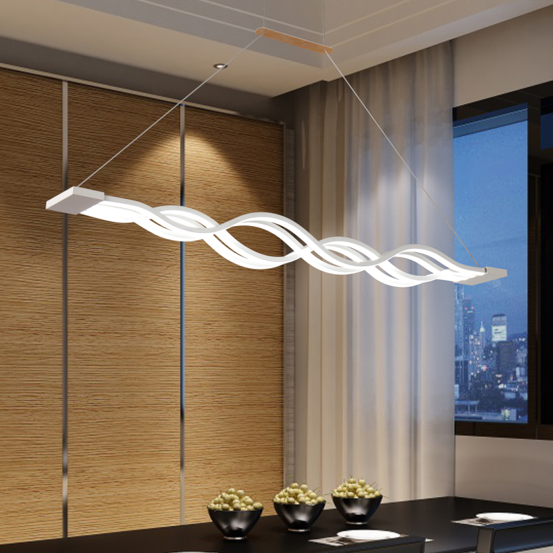 Modern LED Pendant Lights Acrylic Wave Shape Luminaires Dining Room Kitchen Hang Lamp Pendante Colgantes Luminaire Home Lighting