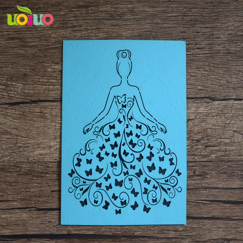 Us 23 0 Lxurious Hot For Your Couples Laser Cut Handmade 25th Wedding Anniversary Invitation Card Blue Card Wedding Invitation In Cards