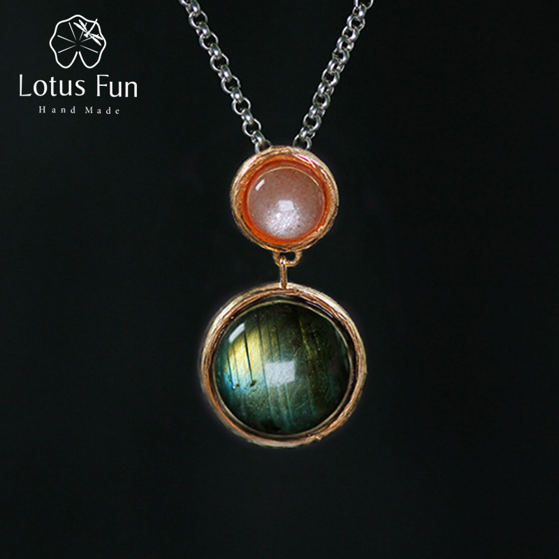 Lotus Fun Real 925 Sterling Silver Natural Stone Handmade Fine Jewelry Mysterious Lake Design Pendant without Chain for Women цена