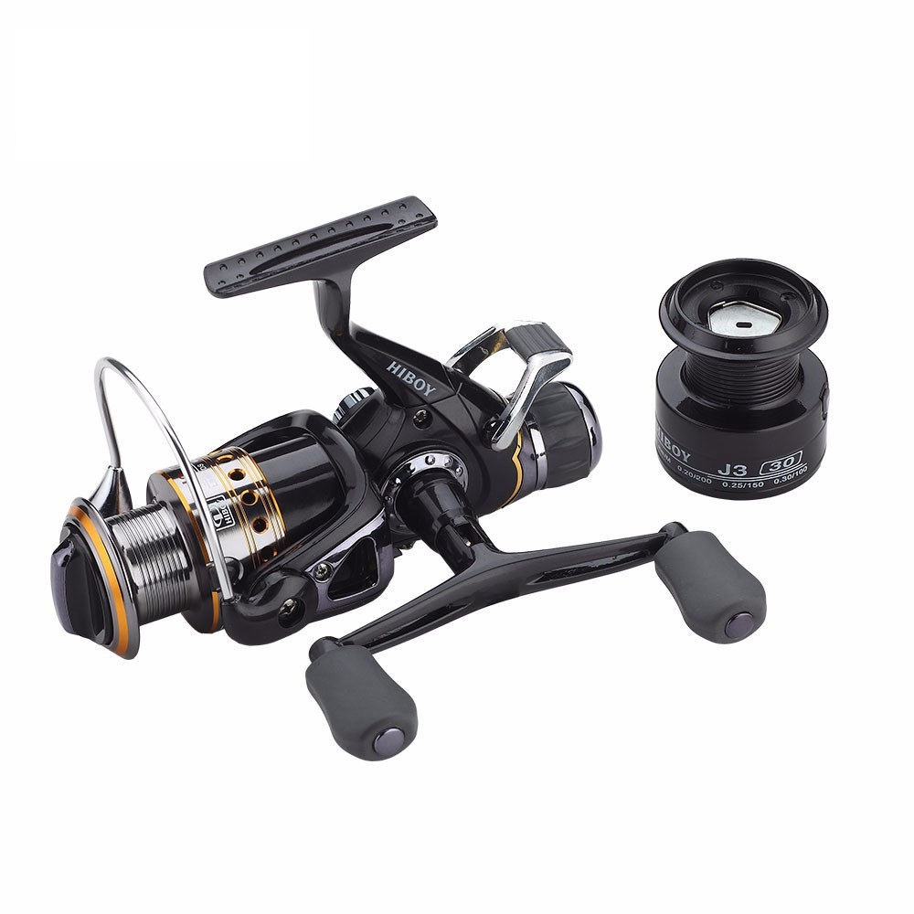 Carp Spinning Fishing Reels, Left/Right Handle Metal Spool, 9+1BB, Stainless steel Shaft, Rear Drag Wheel, 1 Spare Plastic Spool 2pieces diy bqlzr 9 1cmx10 7x4 9cm black plastic left