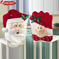 1pcs Christmas home decoration Flannel Santa Chair Cover Xmas Dinner Party Table Decor Noel Covers for dining chairs decorations