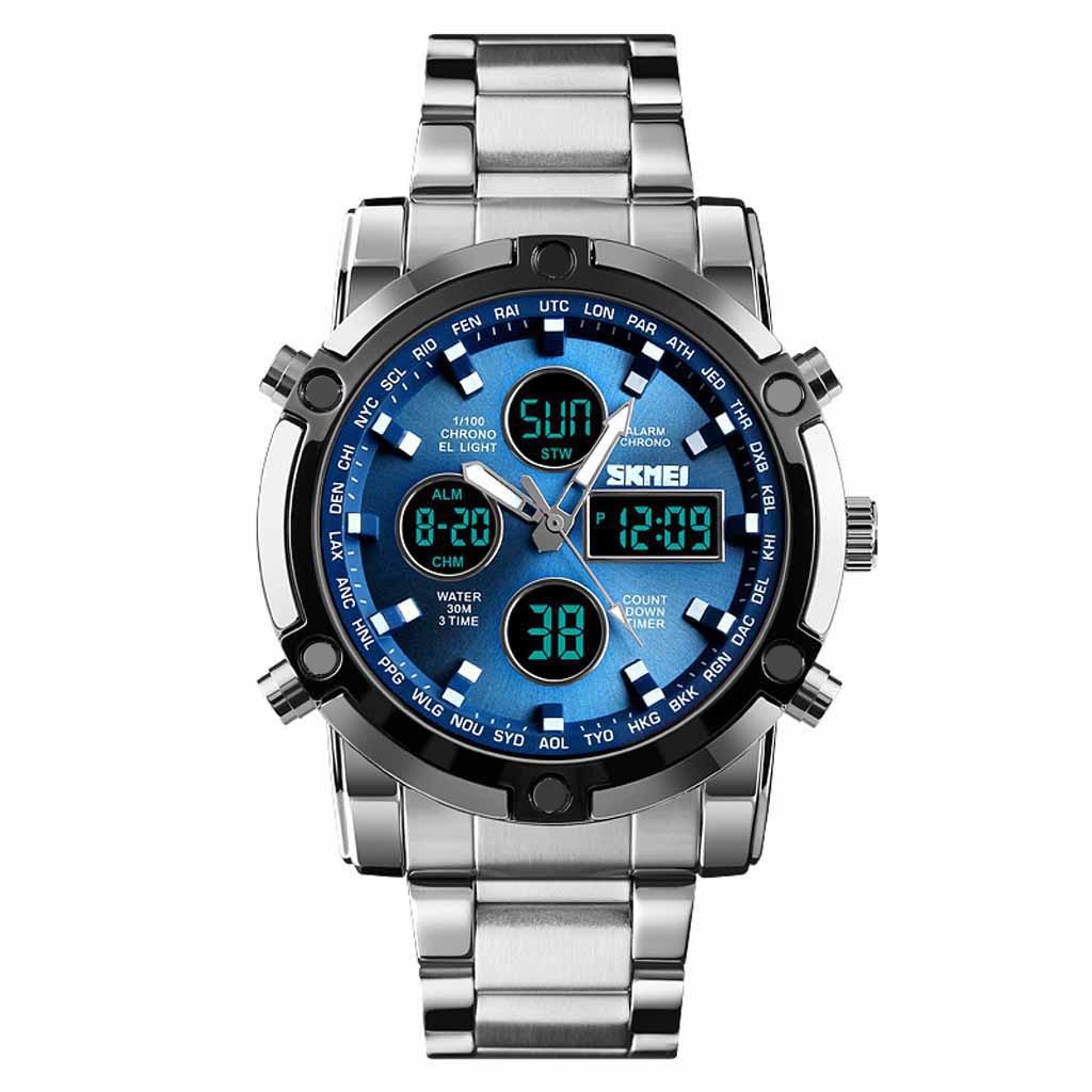 Outdoor Watch Megir Men Clock Chronograph Quartz Double-Display Sports Luminous Analog