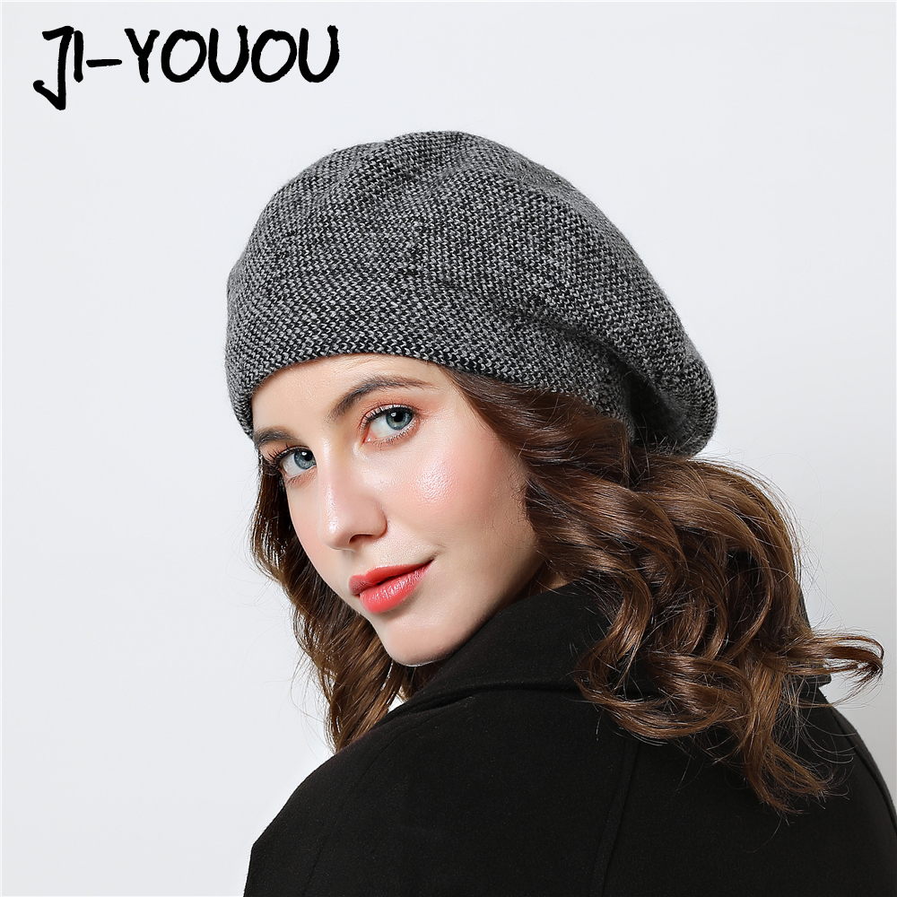 Berets winter Warm hat girls mask Female knitted Color Mixing Painter Cotton hats for women beanie Wool cap