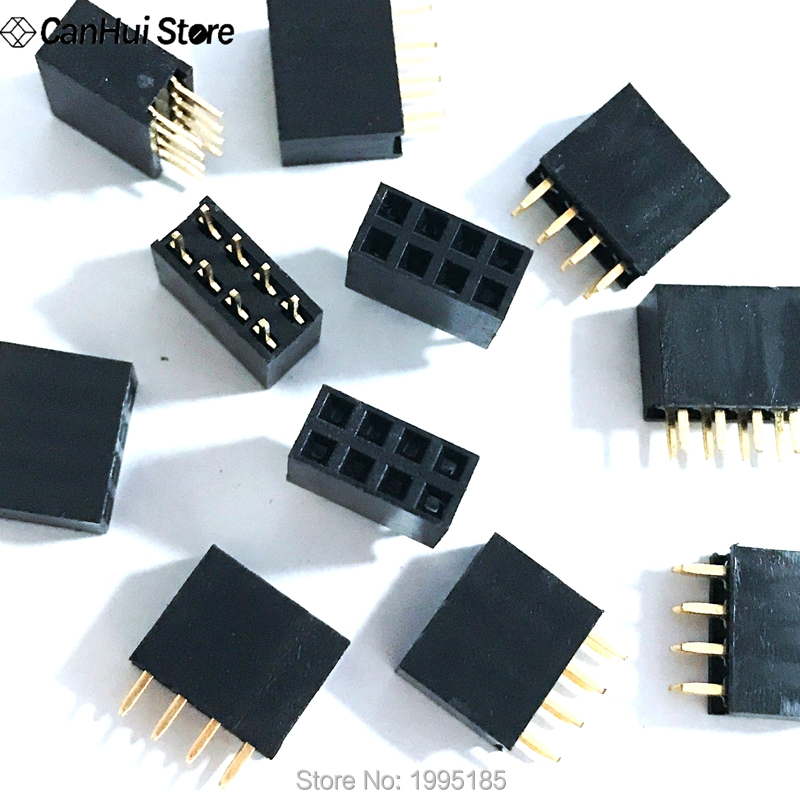 100PCS 2x4 8 Pin 2.54mm Double Row Female Straight Header Pitch Socket Pin Strip 2*4 Mm Pin Outlet 2 X 4 Female Header Connector