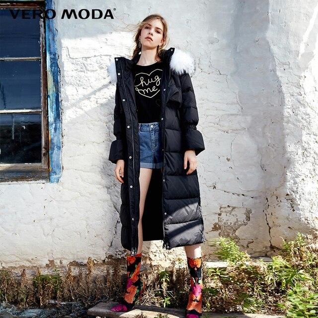 Vero Moda Winter Windproof Fur Collar Mandarin Sleeves Long Down Jacket |317312527
