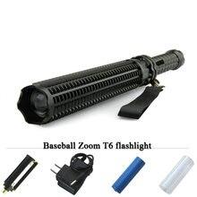 Тактический фонарик Батон вспышкой lanterna мощный телескопическая светодио дный cree xml t6 самозащитой фонарик 18650 или AAA 3000 люмен