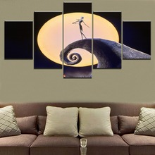 Home Decorative Wall Art Pictures Farmework 5 Pieces Movie The Nightmare Before Christmas Jack Skellington Poster Modern Artwork