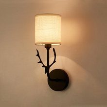 Creative Antlers Led Wall Lights Fixtures Black White Fabric Lampshade Nordic Lamp Bedroom Bedside Reading Sconce
