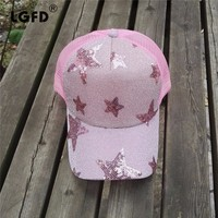 LGF2016CX Wholesale Women Summer Pink SILVER FIVE Star Shine Mesh Truck Hat Snapback GIRL Baseball Cap