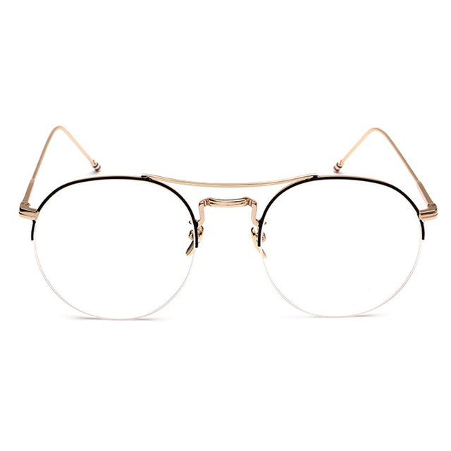 41ace4d214 Vintage Men Women Round Eyeglass Frame Half Rim Glasses Lens Spectacles  Eyewear Black