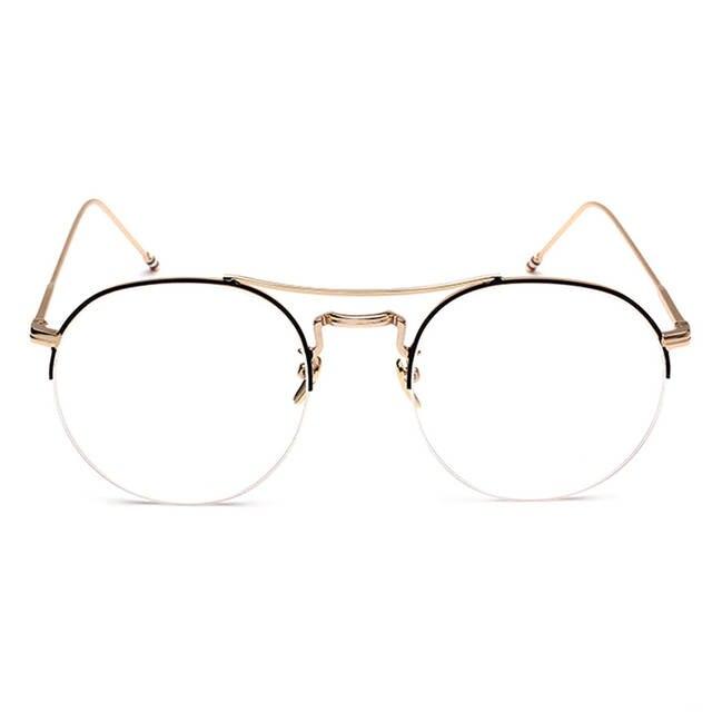 0e111c7cb080 placeholder Vintage Men Women Round Eyeglass Frame Half Rim Glasses Lens Spectacles  Eyewear Black