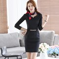 New Fashion Long Sleeve O-Neck Sheath Bodycon Formal Business Work Wear Office OL Autumn Ladies Elegant Mini Striped Dress Women