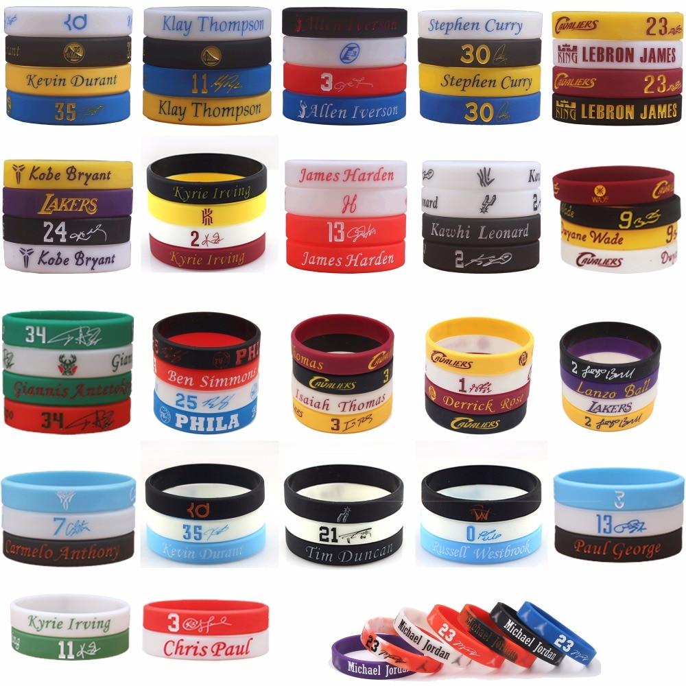 100pcs Mix Basketball Player NBAstar Silicone Bracelet High Quality Wristband