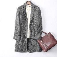Высококачественная Шерстяная Смесь классические твидовые ткани женские модные пальто костюм воротник однобортный M/L/XL